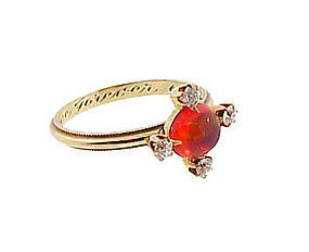 Vintage 14K Gold, Fire Opal & Diamond Ring