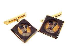Edwardian 14K Gold & Crystal Dog Cufflinks