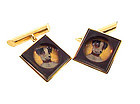 Edwardian 14K Gold & Crystal Dog Cufflinks