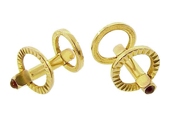 Vintage 18K Yellow Gold & Ruby Stirrup Cufflinks