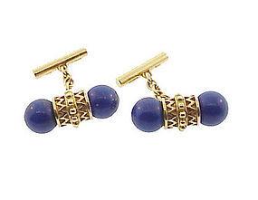 English 18K Yellow Gold & Lapis Lazuli Cufflinks
