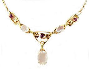 Retro 14K Bicolor Gold Amethyst & Moonstone Necklace