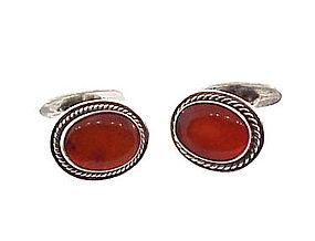 Scandinavian Silver & Amber Cufflinks