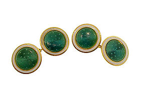 French Art Deco 18K Gold & Guilloche Enamel Cufflinks