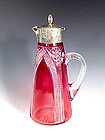 English Cranberry Cut Glass Sterling Silver Claret Jug