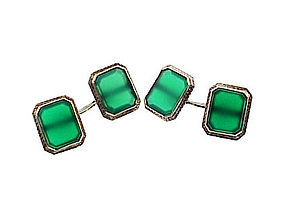 Art Deco 14K White Gold Green Chalcedony Cufflinks