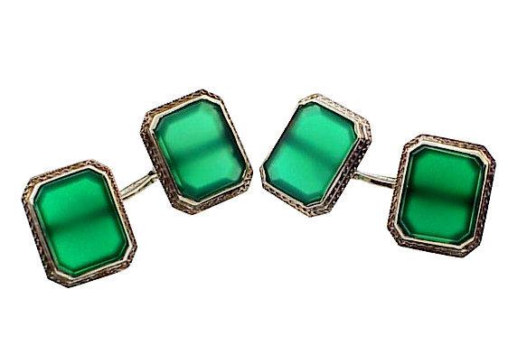 Art Deco 14K White Gold Green Chalcedony Cufflinks