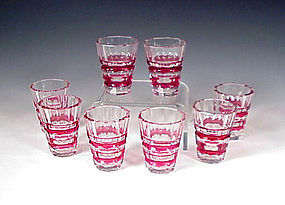 Art Deco Val St. Lambert Red Overlay Cocktail Glasses