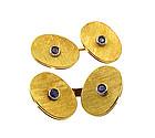 Vintage 18K Gold & Sapphire Cufflinks