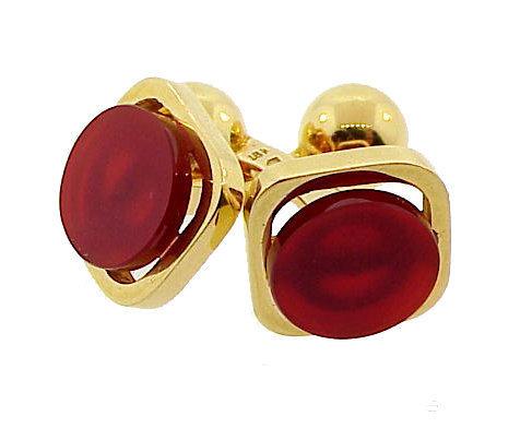 Modernist Pierre Cardin 18K Gold Carnelian Cufflinks