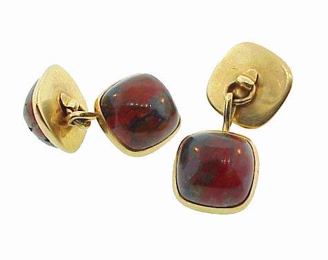 Art Deco Larter 14K Gold & Jasper Chalcedony Cufflinks