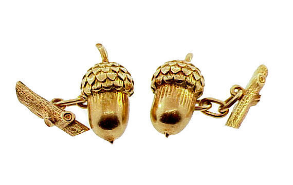 Victorian 14K Gold Acorn & Oak Branch Cufflinks