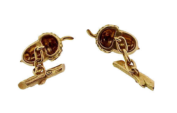 Victorian 14K Gold Acorn & Oak Branch Cufflinks