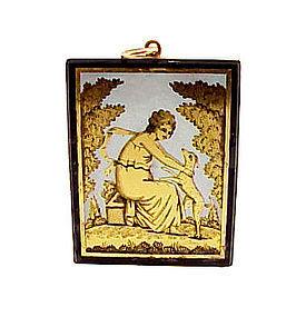 Georgian 18K Gold Verre Egomise Neoclassical Pendant