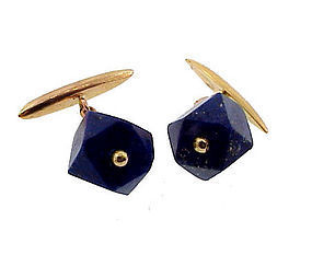 French Art Deco 18K Gold & Lapis Lazuli Cufflinks