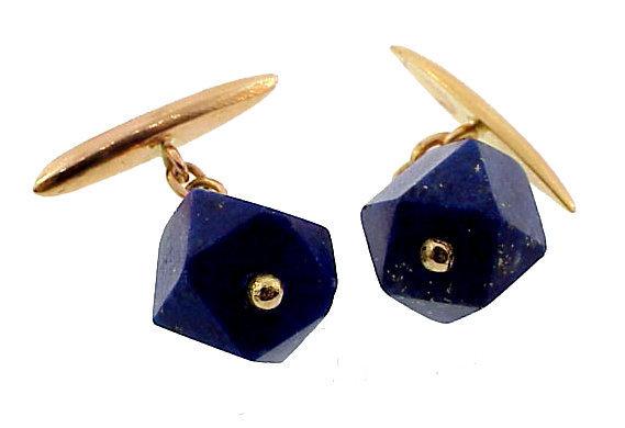 French Art Deco 18K Gold & Lapis Lazuli Cufflinks