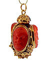 Venetian Etruscan 18K Gold & Coral Cameo Fob Charm