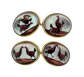 Victorian 14K Gold Cockfighting Essex Crystal Cufflinks