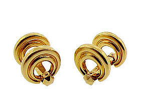 French 18K Yellow Gold Flip-Up Snaffle Bit Cufflinks