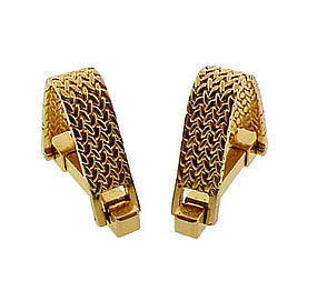 French 18K Gold Herringbone Weave Stirrup Cufflinks