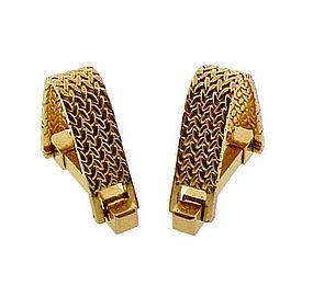French 18K Gold Herringbone Weave Stirrup Cufflinks