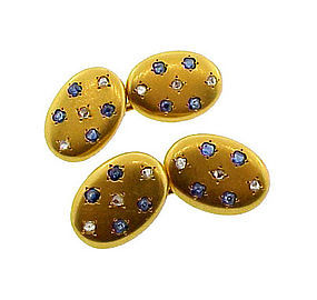 Victorian 18-20K Gold, Diamond & Sapphire Cufflinks