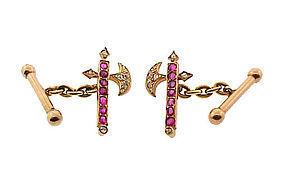 Victorian 14K Ruby Diamond Scottish Halberd Cufflinks