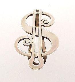Vintage Blackinton Sterling Silver $ Figural Money Clip