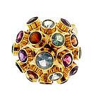 H Stern-Style 18K Gold Multi-Stone Sputnik Ring