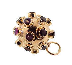 H Stern-Syle 18K Gold Multi-Stone Sputnik Pendant/Charm