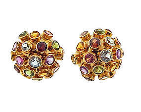 H Stern-Syle 18K Gold Multi-Stone Sputnik Earrings
