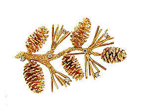 14K Yellow Gold & Diamond Pinecone Brooch