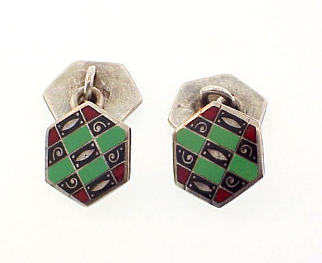 Signed French Art Deco Enameled Silver Cufflinks