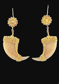 Victorian Raj 18K Gold & Tiger�s Claw Earrings