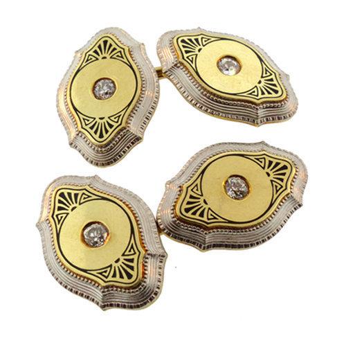 Edwardian 14K Gold, Platinum Enamel & Diamond Cufflinks