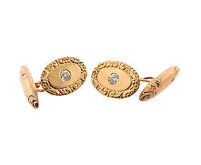 Victorian 14K Gold & 1/2 Carat Diamond Cufflinks