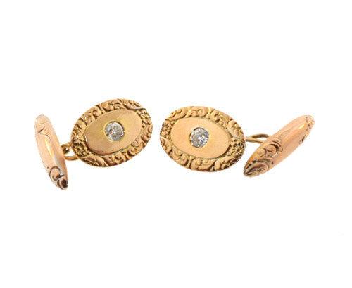 Victorian 14K Gold & 1/2 Carat Diamond Cufflinks