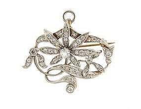Art Nouveau Platinum 18K Diamond Floral Pendant Pin