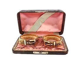 Pair Victorian 14K Gold Enamel Bangle Buckle Bracelets