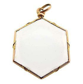 Victorian French 18K Yellow Gold & Crystal Photo Locket