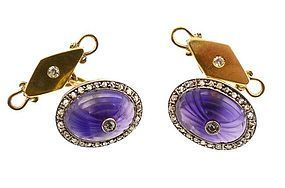 Art Deco 18K Gold, Carved Amethyst & Diamond Cufflinks