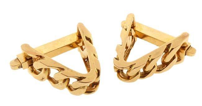 Vintage French 18K Gold Chain Link Stirrup Cufflinks
