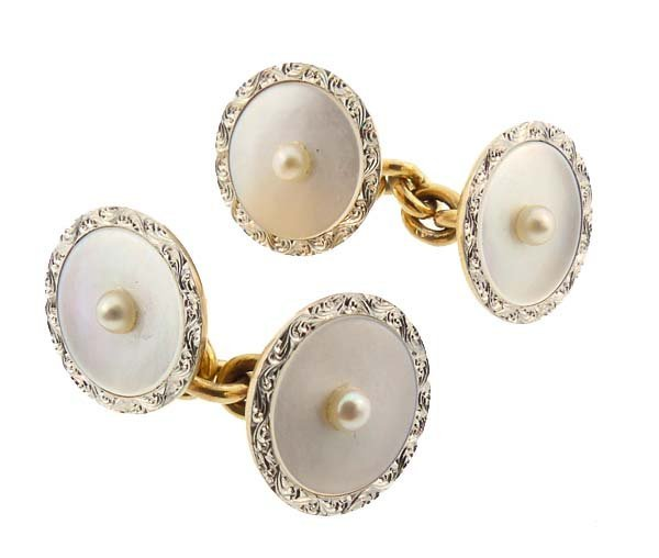 Carrington 14K Gold Platinum Mother-of-Pearl Cufflinks