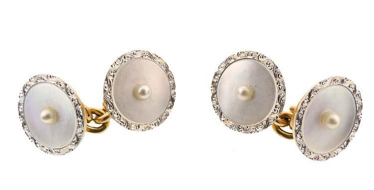 Carrington 14K Gold Platinum Mother-of-Pearl Cufflinks
