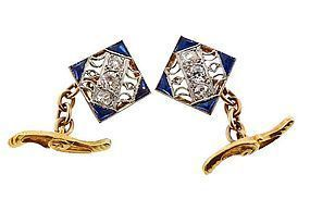 Edwardian 18K Gold Platinum Diamond Sapphire Cufflinks