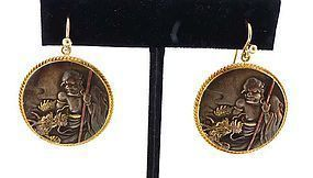 14K Yellow Gold & Japanese Mixed-Metal Shakudo Earrings