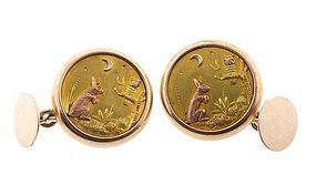 Victorian Multicolored 14K Gold Day & Night Cufflinks