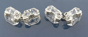 French Art Deco Platinum Rock Crystal Diamond Cufflinks