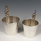 Art Deco Silverplate 1 Finger & 2 Finger Jigger Set