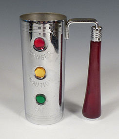 Glo-Hill Chrome & Bakelite Stoplight Handled Jigger